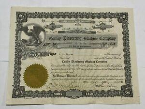 CONLEY PLASTERING MACHINE COMPANY (Arizona) Share Certificate  1930