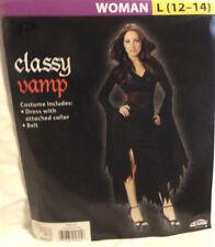 CLASSY VAMP WOMENS 2-PIECE HALLOWEEN COSTUME, WOMENS SIZE LARGE 12-14, NEW