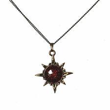 Inti Dyus Sun God Gold Tone Red Enamel Inca Achala Pendant Necklace IA02