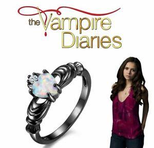 The Vampire Diaries Elena Gilbert, Diamond, Opal Heart Gem, Tungsten Plated Ring