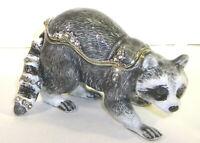 Racoon Trinket / Jewelry Box Pewter Bejeweled Treasures