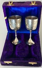 EXQUISITE PAIR ANTIQUE SILVER CHALICE GOBLET WINE CUP GLASS WEDDING ANNIVERSARY