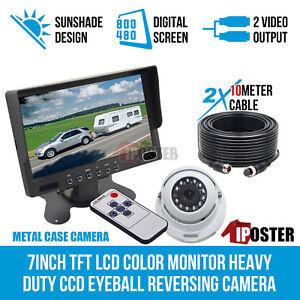 "7"" Monitor HD 12V/24V Reversing CCD Eyeball Dome Camera Truck Caravan Kit"