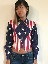 VINTAGE WESTERN ROCKABILLY 1980's CIRCLE T USA AMERICAN FLAG CROPPED JACKET S!