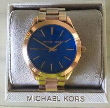NWT Michael Kors Slim Runway Blue Dial Rose Gold-Tone Ladies Watch MK3494 $195