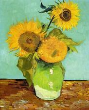 "Vincent Van Gogh *FRAMED* CANVAS ART Sunflowers vase green 16""X 12"""