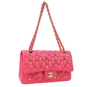 CHANEL Classic Double Flap Medium Shoulder Bag Pink Leather Paris-Hamburg S10049