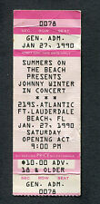 1986 Johnny Winter unused full concert ticket Ft. Lauderdale Mean Town Blues