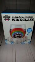 "BigMouth . ""On Cloud Wine"" Stemless Wine Glass plastic cloud coaster set NIB"
