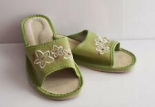 High Quality Leather Women Indoor Outdoor Shoes Slippers Slides Green 4.5/37
