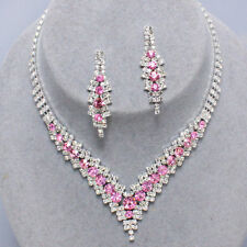 Pink diamante necklace set prom bridal party sparkly rhinestone evening 0346