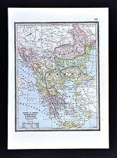 1891 Watson Atlas Map - Greece Turkey Rumania Bulgaria Serbia Montenegro Europe