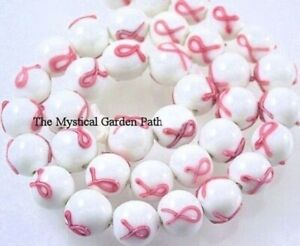 6 Lampwork Glass Pink Ribbon Breast Cancer Awareness 11mm Round Beads *