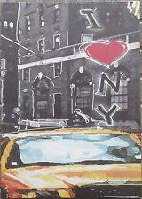 QUADRO mdf 35x25 cm NEW YORK TAXY I love NY City locale PUB americano USA NUOVO