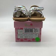 Josmo Girls' Genesis Flat Sandal, Silver, 7 Medium US Toddler
