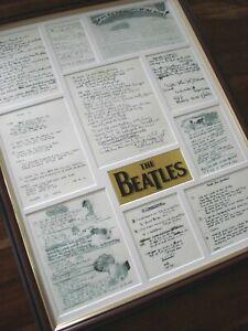 THE BEATLES ORIGINAL HANDWRITTEN LYRICS FRAMED DISPLAY MONTAGE VERSION # 3