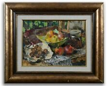 Still life with fruits, vintage oil painting, impressionism, kitchen decor