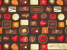 Forever Yours Chocolates Truffles BLK Valentine Fabric by the 1/2 Yard  #1043M