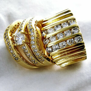 HIS HERS MEN'S WOMEN'S Gold filled WEDDING ENGAGEMENT RING BAND SET R117/179