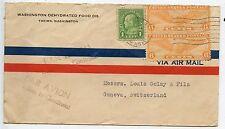 AIR MAIL AVION UNITED STATES OF AMERICA / YAKIMA WASHINGTON / SUISSE GENEVE 1937