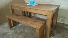REAL SOLID WOOD DINING TABLE & BENCHES RUSTIC PLANK PINE FURNITURE any size made