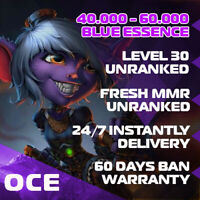 🌊OCE League of Legends LOL Account Smurf 40.000 - 60.000 BE Unranked Level 30+