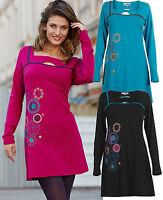 New Colour Fashion 8 -16 Black Pink Blue Ethnic Boho Hippy Empire Tunic Dress