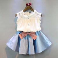 2 Pz Bimbi Ragazzi Vestito da Bambina Set Maglia Camicia Fiocco Gonna Corta