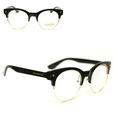Eyewear Half Frame Horn Rimmed 100%UV Clear Lens Unisex Glasses Glossy Black