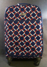 """Happy Chic By Jonathan Adler 21"""" Carry On Spinner Luggage, Lattice Red/ Navy"""
