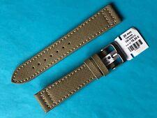 Uhrband Eulit Canvas Leder 20 mm beige Ersatzband Band Strap Uhrenarmband