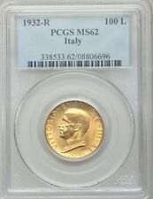 ITALY  1932-R  YR.X  100 LIRE  UNCIRCULATED GOLD COIN, PCGS CERTIFIED MS62