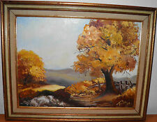 Original Mid century painting by Trica '69 Landscape fall scene price to sell