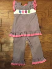 Girls Smocked Hearts Matching Pants Suit Purple Check Size 5T