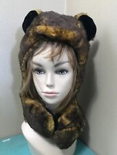 Furry Brown Bear Hug Hat winter animal hood hoodie hat cosplay costume elope