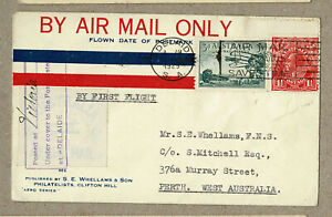 Australia 1929 Adelaide Perth Whellams Mitchell FFC Flight Cover