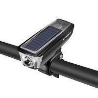 RockBros Bicycle MTB Bike Headlights Solar&USB Charging Horn&Flashlight White
