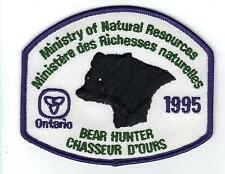 1995 ONTARIO MNR BEAR HUNTER PATCH-MICHIGAN DNR DEER-MOOSE-ELK-CREST-BADGE-FISH