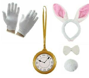 Wonderland WHITE RABBIT COSTUME Adult Kids Fancy Dress Hare Book Week Outfit UK