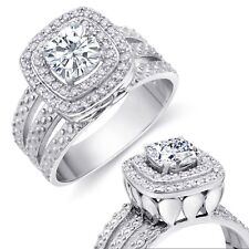 Halo Sterling Silver Engagement Ring Double Brilliant Cushion Simulated Diamond