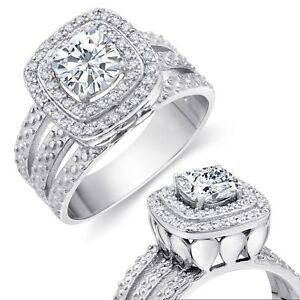 Double Brilliant Cushion Simulated Diamond Halo Sterling Silver Engagement Ring
