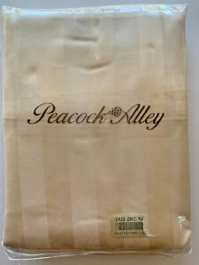 Peacock Alley Pillow Cases NIP King Size Natural Beige Striped