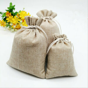 Linen Style Drawstring Jute Gift Bags Wedding Favor Candy Xmas Pouch 5Sizes