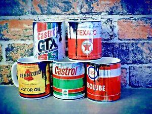 retro mug vintage distressed effect oil can effect mechanic mug gift for him