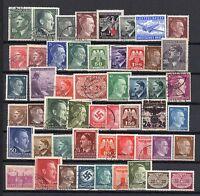 GERMANY 3rd REICH / Adolf Hitler / WWII Era Stamp Collection 50 Different M&U