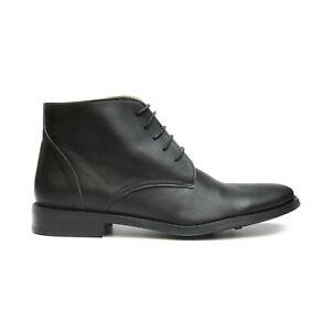 Man vegan chukka ankle boot black water resistant lace-up dress comfort organic