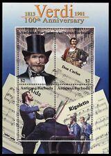 "ANTIGUA 2487 - Giuseppe Verdi ""Composer"" Death Centenary S/S (pa51253)"