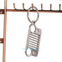 Silver Stainless Steel Jeep Grill Key Chain KeyChain KeyRing CJ JK TJ Wrangler