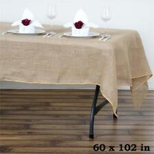 """Natural BURLAP 60x102"""" Rectangle TABLECLOTH Country Wedding Party Catering Linen"""