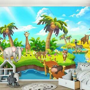 Vlies Fototapete Kinderzimmer Tiere Afrikanische Urwald Dschungel Elefant Insel